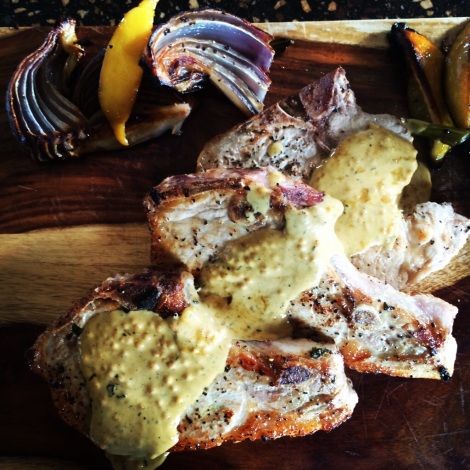Seared Pork Rib Chops with Mustard Cream Sauce and Roasted Vegetables