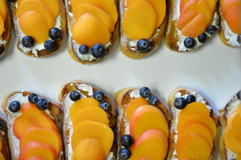 Apricot-Blueberry with Ricotta and Honey.