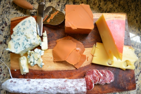 Gjetost, Jarlsberg and blue Cheese with Soppressata