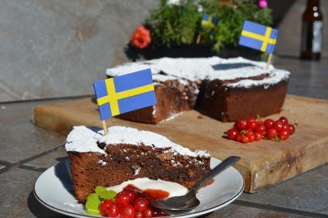 Swedish Kladdkaka with Red Currants
