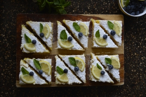 Lemon Bars with Mint and  a Blueberry.