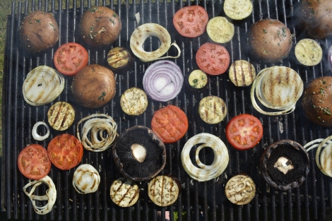 Grilled Vegetables. Portobella Mushrooms, Tomatoes, Eggplant and Onions.