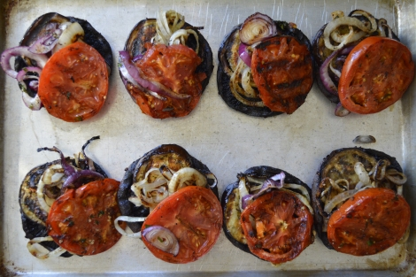 Stacked Grilled Vegetables. Portobella Mushrooms, Tomatoes, Eggplant and Onions.