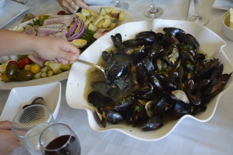 Mussels and Clams in Herbed Broth.