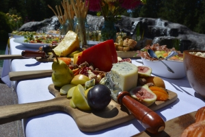 Cheese Boards with fruit and nuts.