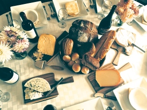 Cheese Boards and an assortment of bread.